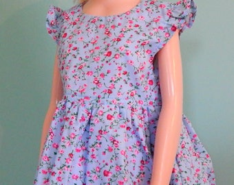 Baby Dress/Blue with Pink Flowers/Matching Panties/6-9 Months