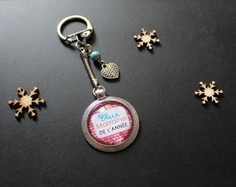 """Keychain """"One godmother of the year"""" silver"""