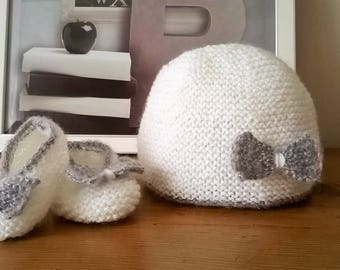 Booties and hat baby wool 3 months