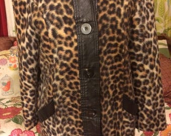 60's leopard print faux fur and leather coat