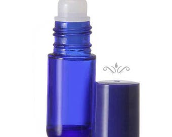 72 Blue Glass Roll On Bottles - 5 ML