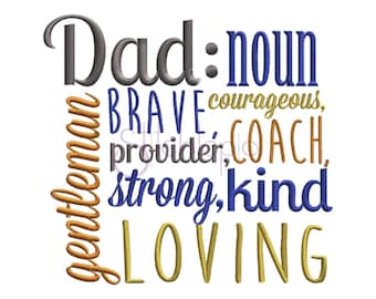 Dad Definition Father's Day Machine Embroidery Digitized Design Pattern