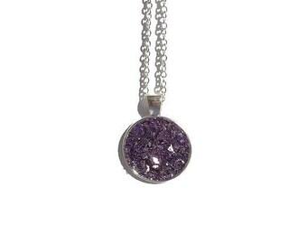 Druzy pendant necklace, chunky purple druzy, druzy necklace, druzy jewelry, under 20 dollars, brown druzy, chunky druzy, drusy, silver