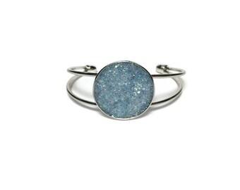 Druzy bracelet, Druzy jewelry, blue Druzy, cuff bracelet, geode jewelry, geode bracelet, under 20 dollars, silver cuff, boho, blue geode