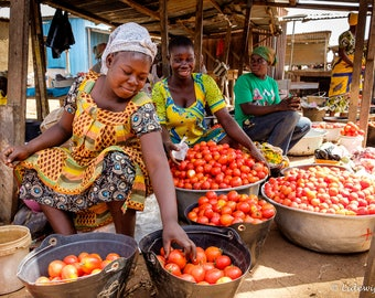 Women who sell tomatoes on a market in Ghana, Africa, photography