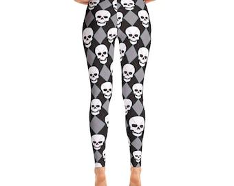 Skull Argyle Ugly Sweater Style Leggings
