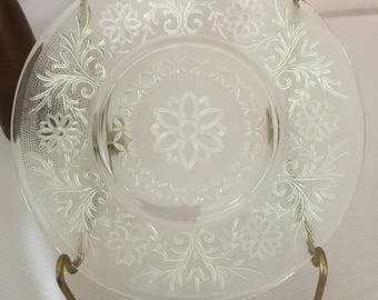 Clear Sandwich pattern salad plate, clear glass plate, Anchor Hocking Co plate, cookie plate, holiday plate