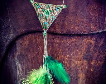 3D triangles Miyuki Delicas beads and swarovski feathers green silver