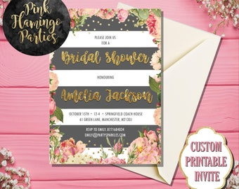 Bridal Shower Invitation, Bridal Shower Invite, Grey and Floral Bridal Shower, Printable Bridal Shower Invitation, Digital Invite