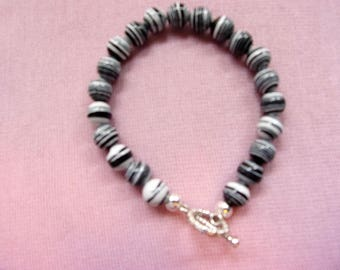Black and white women's bracelet