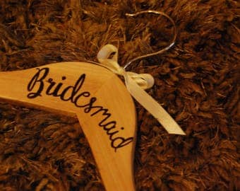 Personalised wooden wedding dress hangers | Bride, Bridesmaid, Flowergirl, Flower Girl | Wedding Favours, Gifts