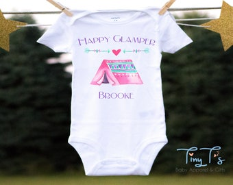 Happy Camper Onesie®, Camping Onesie®, Girl Baby Shower Gift , Funny Baby Onesies®,Boho Baby Clothes, Baby Girl Clothes,Hippie Baby Onesies®