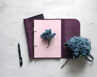 Violet Notebook, Leather Notebook, Leather Notebook A5, Leather Journal, Journal, Notebook On Rings, Notebook Leather, Notebook A5, Notebook