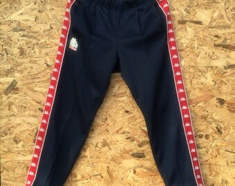 KAPPA vintage 90s Kappa pocketable small logo plus ribbon logo zipper track pants navy blue base colour strechable with laces