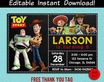 Toy Story Invitation, Toy Story Editable Invitation, Toy Story Editable, Toy Story Birthday, Toy Story Pdf Template, Toy Story Thank You Tag