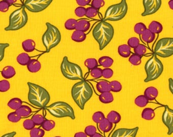 Sandi Henderson for Michael Miller Fabrics, Farmers Market, cherries in yellow. Sold by the FQ.