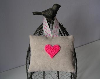 Pink heart door pillow linen (pair)