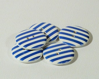 Set of 10 wooden buttons striped blue 15mm