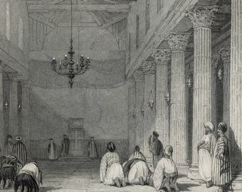 Chapel at Bethlehem, Palestine 1841 - Old Antique Vintage Engraving Art Print - Chandelier, Columns, Praying, Religious, Candle, Ceiling