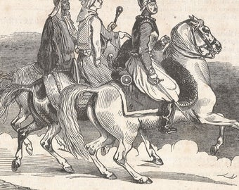 Egyptian Horsemen, Egypt 1840 - Old Antique Vintage Engraving Art Print - Men, Cavalry, Horse, Soldier, Travelers, Sword, Turban, Helmet