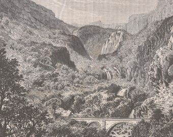Algeria , The Mefrouch Waterfalls, Old Antique Vintage Engraving Art Print, Mountains, Cliffs, Valley, Trees, Shrubs, Grass, Foliage, Rocks,