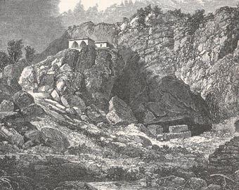 Jordan 1886, Jordan Spring from Baniyas, Old Antique Vintage Engraving Art Print, Mountain, Cliff, Building, Arch, Bricks, Water, Stream