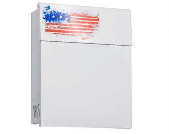 White Mailbox | Decorative Powder Coated letterbox | With US Patriotic Pattern