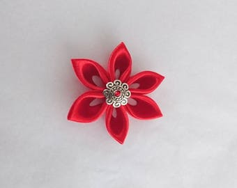 Flowers kanzashi handmade Red satin