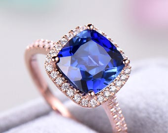 Lab Blue Sapphire Engagement Ring Cushion Cut Sterling Silver Rose Gold CZ Halo Women Wedding Ring Half Eternity Pave Anniversary Gift