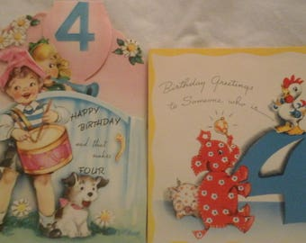 Vintage  4th birthday  greeting  cards
