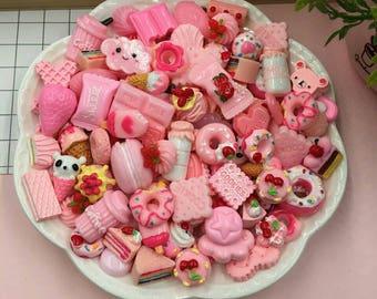 20pcs/lot Candy Mix Cute Kawaii Food, Resin Flatback Cabochons for Phone Deco, Scrapbooking DIY