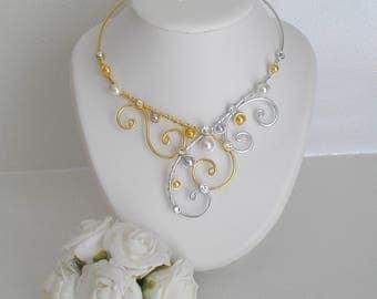 White wedding Golden silvery Marina necklace and swarovski rhinestones