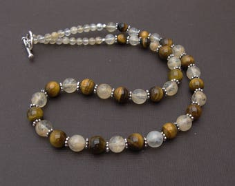 Yellow quartz and Tiger Eye necklace