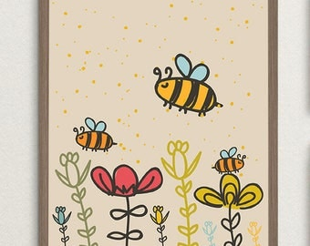 Bee Nursery Print Decor Printable Wall Art