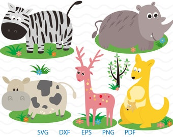 Zebra Clipart , Rhinoceros, Cow, Giraffe, Kangaroo, Tree Svg, cricut, cameo, silhouette cut files commercial & personal use