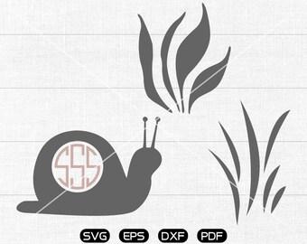 Snail SVG Files, Snail Monogram Frame svg, Snail Clipart, cricut, cameo, silhouette cut files commercial &  personal use