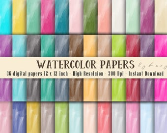 36 Watercolor Texture Digital Papers in 12 x 12 inch 300 Dpi Instant Download, Scrapbook Papers, Colorful Papers, Commercial Use