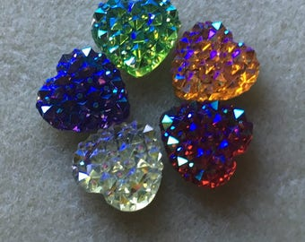 9pc Acrylic rhinestone heart