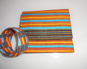wax scarf, scarf, sarong and matching African fabric bracelet