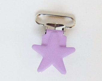 Attache tétine / sucette ETOILE - 36 mm - PARME - pince bretelle - clip - création bébé