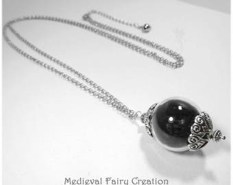 """Necklace """"Raven feathers"""" glass, silver and black feathers"""
