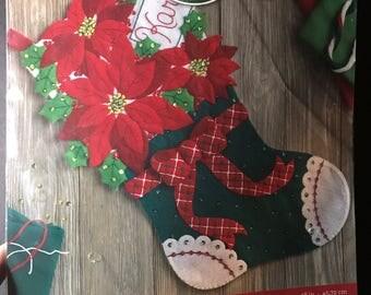 Bucilla Christmas Poinsettia Stocking kit