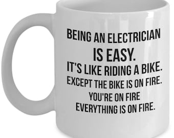 Being an Electrician is Easy, Electrician Mug, Gift For Electrician, Personalized Electrician, Electrician Gift, Electrician Gift idea