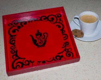 Red Tea Tray