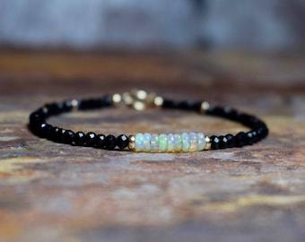 Black Spinel & Ethiopian Opal 14k Gold Filled Gemstone Bracelet, Natural Opal and Spinel Gemstone Jewelry, Handmade Jewellery UK, Wife Gift