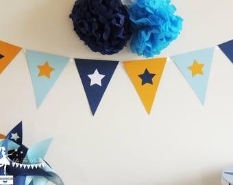 12 Bunting Blue-Navy - 165cm decor yellow star