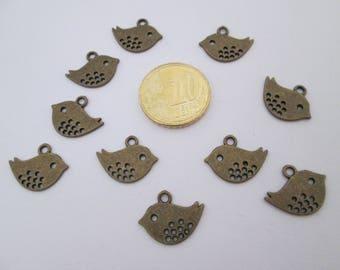 10 breloque oiseaux en métal bronze 17 X 13 mm