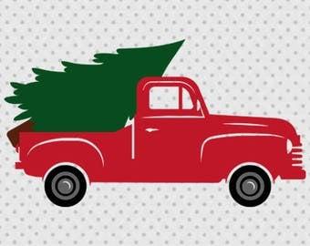Christmas truck svg, Vintage Truck svg, Old Pickup Truck svg, Truck svg, Pickup Truck svg, Christmas Tree svg, Pine Tree Svg