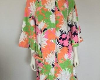 Vintage Womens Floral Terrycloth Robe - Pink Green Orange Black
