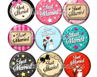 Set of 15 cabochons 16mm glass, wedding, Just married ZC196
